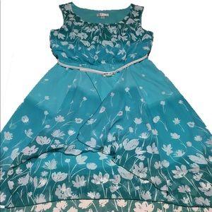 NWT Dressbarn floral ombre hi low dress 10